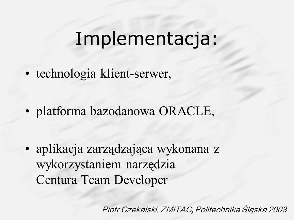 Piotr Czekalski, ZMiTAC, Politechnika Śląska 2003 Implementacja: technologia klient-serwer, platforma bazodanowa ORACLE, aplikacja zarządzająca wykona