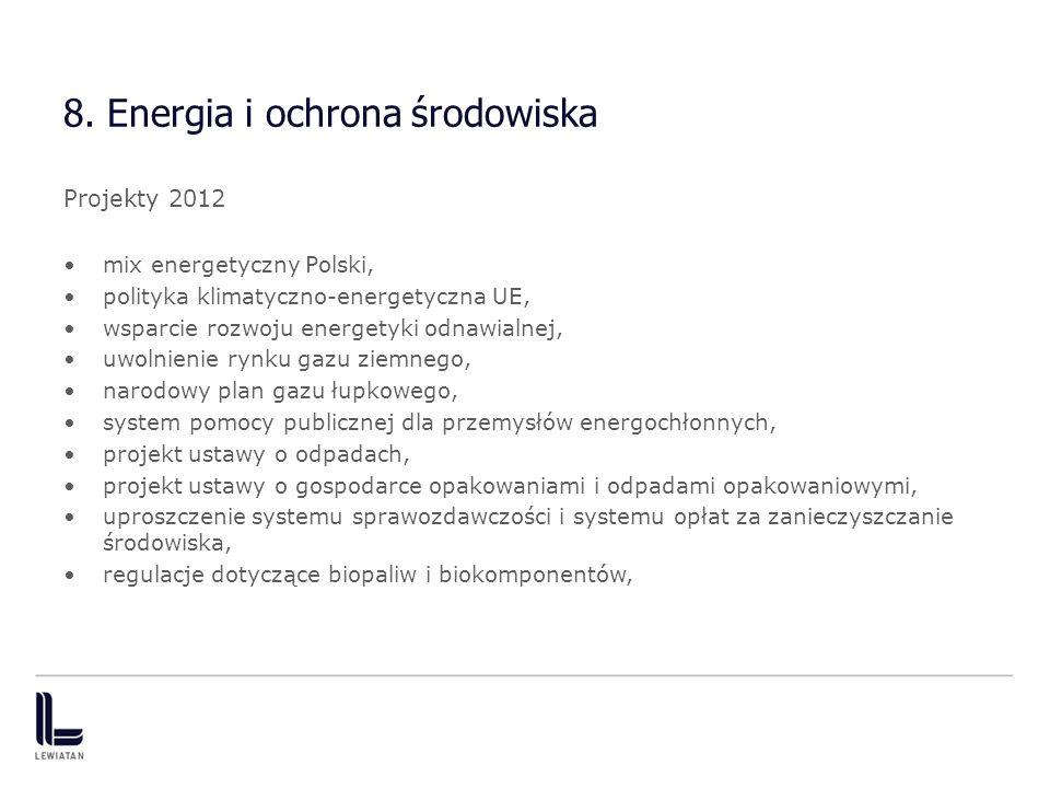 8. Energia i ochrona środowiska Projekty 2012 mix energetyczny Polski, polityka klimatyczno-energetyczna UE, wsparcie rozwoju energetyki odnawialnej,