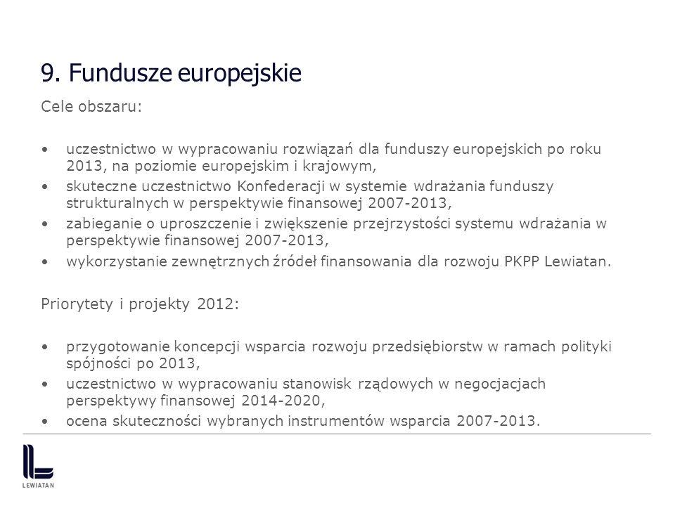9. Fundusze europejskie Cele obszaru: uczestnictwo w wypracowaniu rozwiązań dla funduszy europejskich po roku 2013, na poziomie europejskim i krajowym