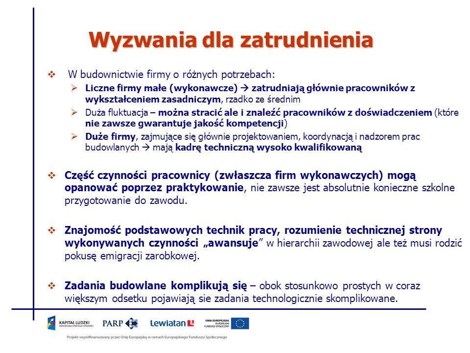 Wyzwania dla zatrudnienia W budownictwie firmy o różnych potrzebach: Liczne firmy małe (wykonawcze) zatrudniają głównie pracowników z wykształceniem z