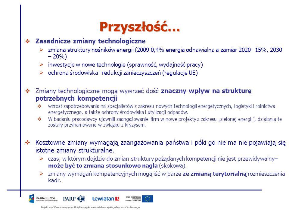 Przyszłość… Zasadnicze zmiany technologiczne zmiana struktury nośników energii (2009 0,4% energia odnawialna a zamiar 2020- 15%, 2030 – 20%) inwestycj