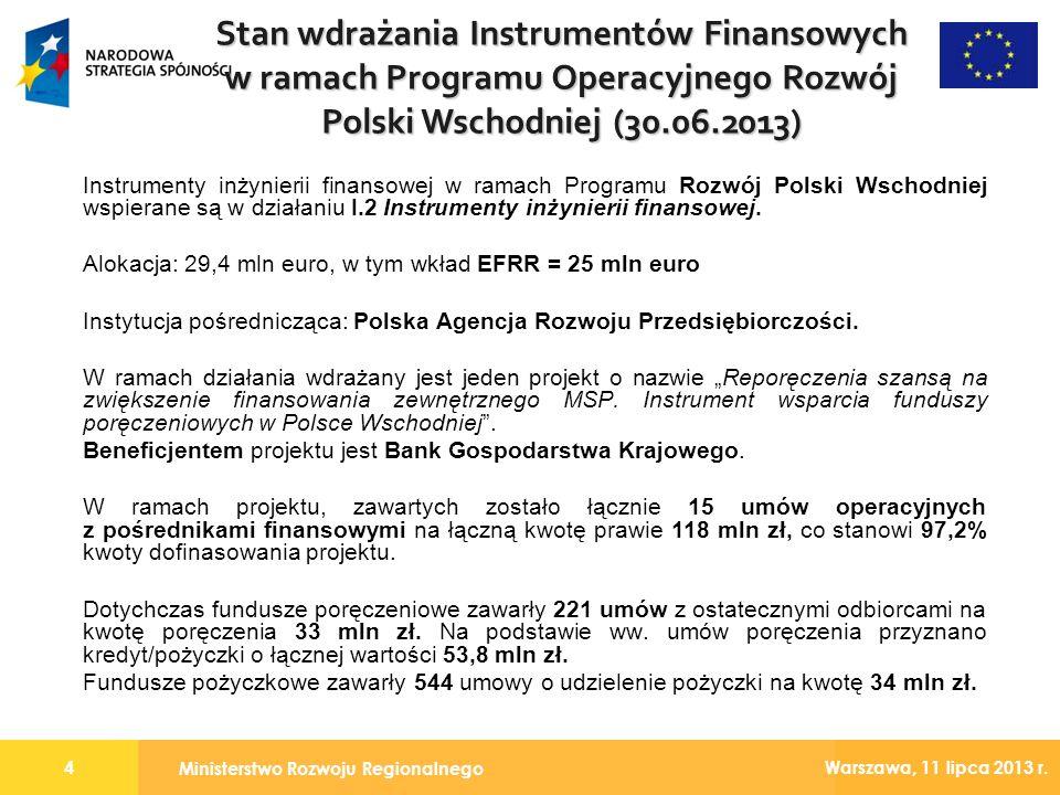 Ministerstwo Rozwoju Regionalnego 4 Warszawa, 11 lipca 2013 r. Instrumenty inżynierii finansowej w ramach Programu Rozwój Polski Wschodniej wspierane