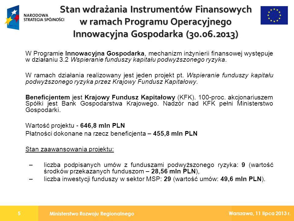 Ministerstwo Rozwoju Regionalnego 5 Warszawa, 11 lipca 2013 r. W Programie Innowacyjna Gospodarka, mechanizm inżynierii finansowej występuje w działan