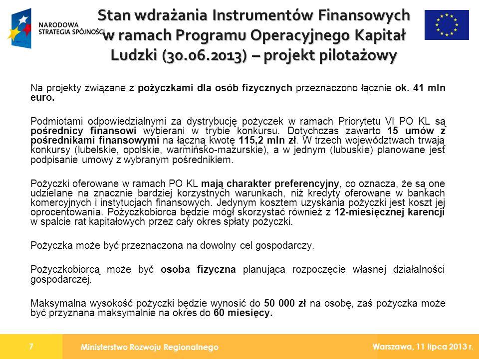Ministerstwo Rozwoju Regionalnego 7 Warszawa, 11 lipca 2013 r. Na projekty związane z pożyczkami dla osób fizycznych przeznaczono łącznie ok. 41 mln e