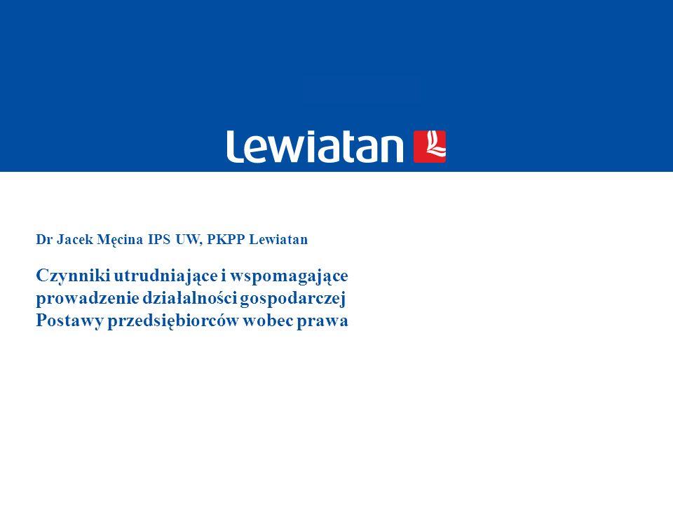 Dr Jacek Męcina IPS UW, PKPP Lewiatan Czynniki utrudniające i wspomagające prowadzenie działalności gospodarczej Postawy przedsiębiorców wobec prawa