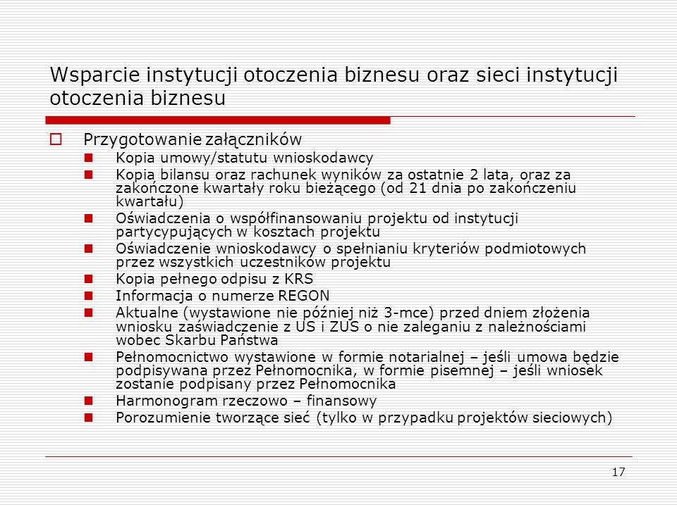 17 Wsparcie instytucji otoczenia biznesu oraz sieci instytucji otoczenia biznesu Przygotowanie załączników Kopia umowy/statutu wnioskodawcy Kopia bila