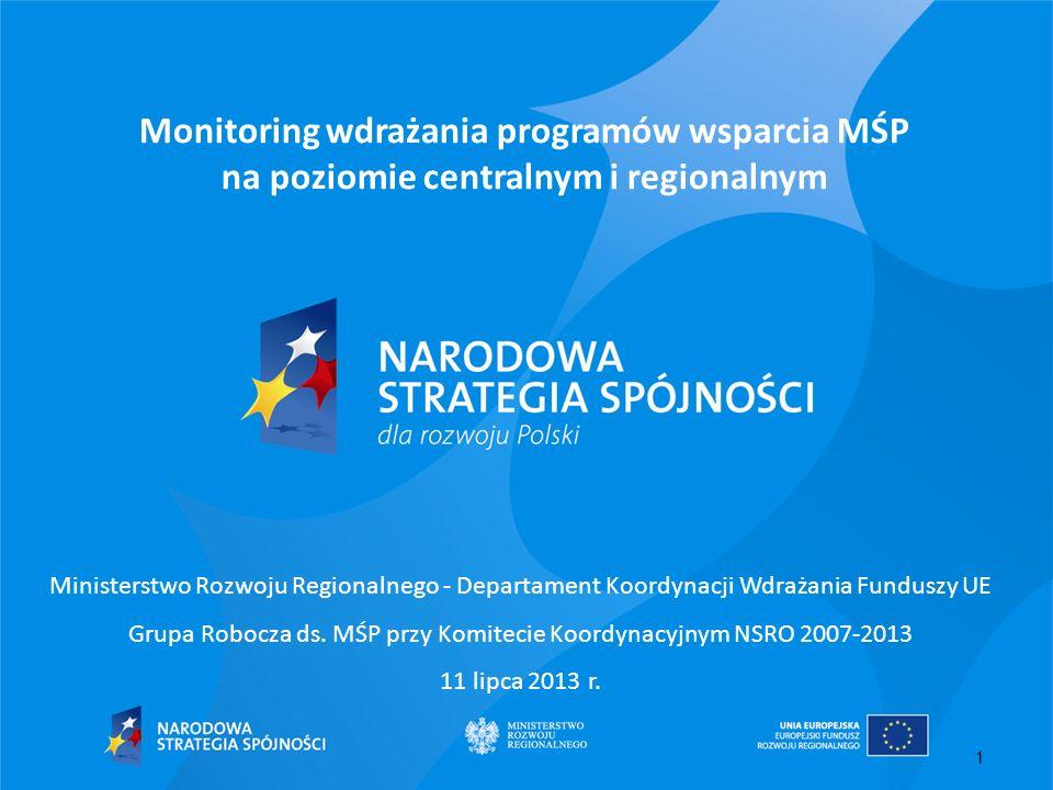 1 Monitoring wdrażania programów wsparcia MŚP na poziomie centralnym i regionalnym Ministerstwo Rozwoju Regionalnego - Departament Koordynacji Wdrażan