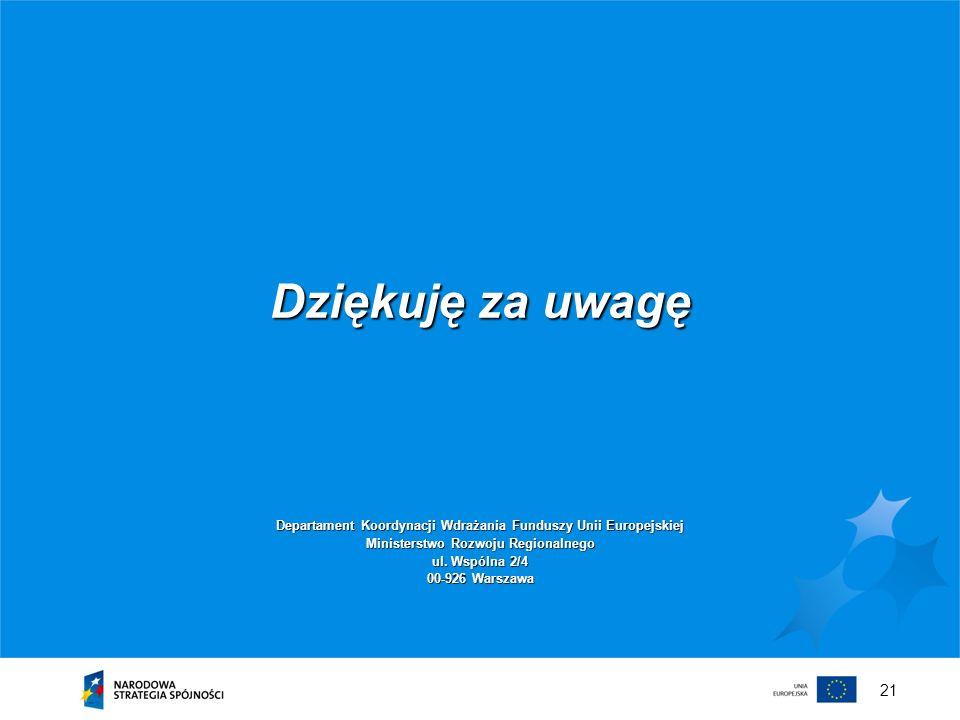 21 Dziękuję za uwagę Departament Koordynacji Wdrażania Funduszy Unii Europejskiej Ministerstwo Rozwoju Regionalnego ul. Wspólna 2/4 00-926 Warszawa