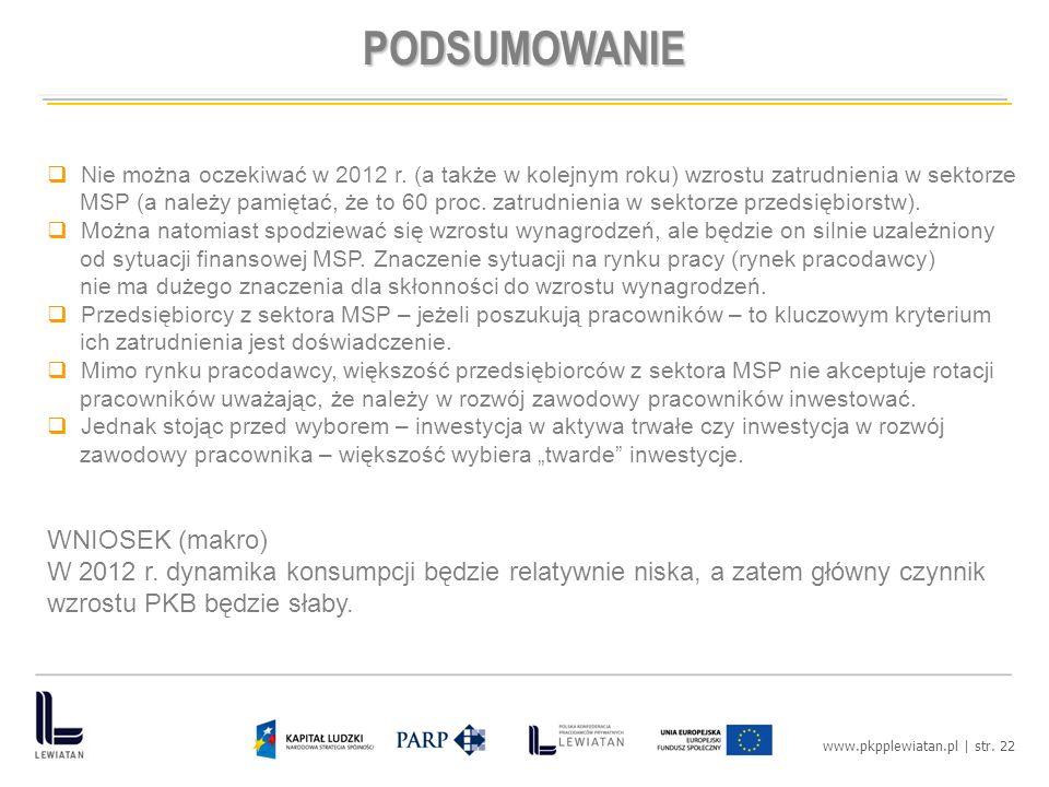 www.pkpplewiatan.pl | str. 22 PODSUMOWANIE Nie można oczekiwać w 2012 r.
