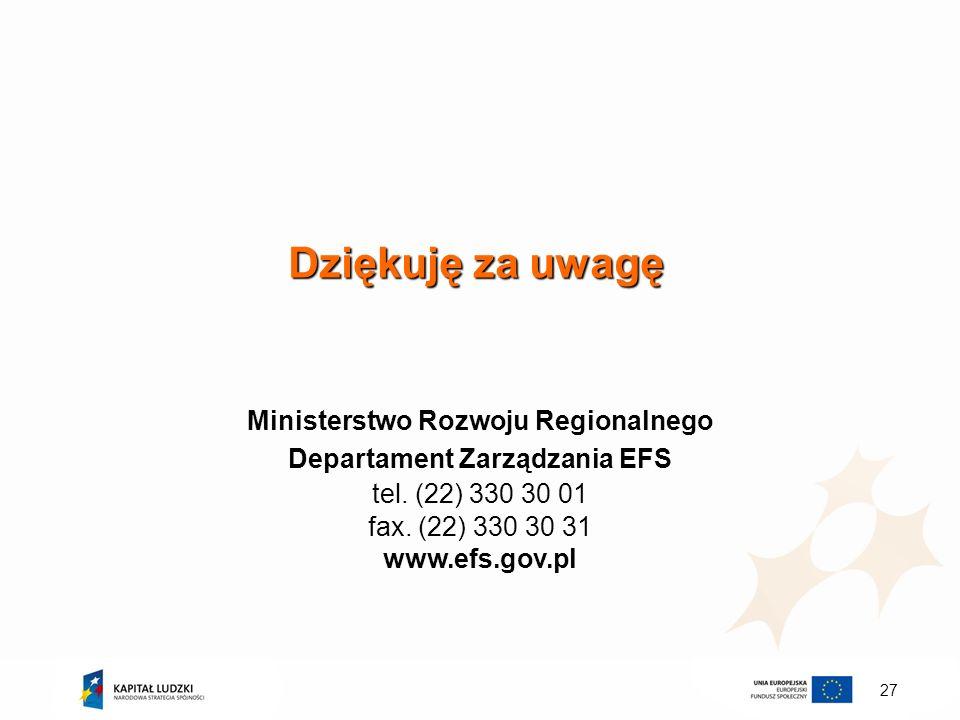 27 Dziękuję za uwagę Ministerstwo Rozwoju Regionalnego Departament Zarządzania EFS tel. (22) 330 30 01 fax. (22) 330 30 31 www.efs.gov.pl