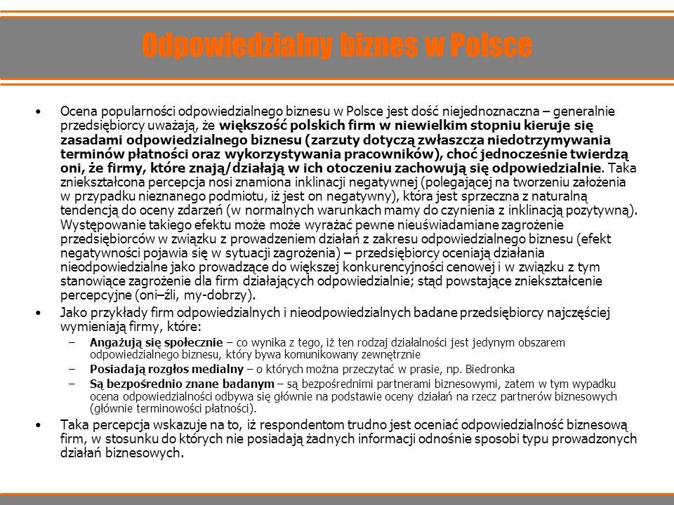 Odpowiedzialny biznes w Polsce Ocena popularności odpowiedzialnego biznesu w Polsce jest dość niejednoznaczna – generalnie przedsiębiorcy uważają, że
