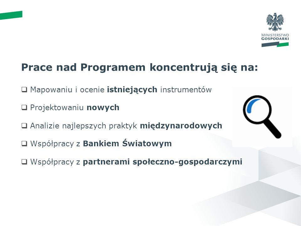 wstęp 01 PRP - PRACE KONCEPCYJNE Prace nad Programem koncentrują się na: Mapowaniu i ocenie istniejących instrumentów Projektowaniu nowych Analizie najlepszych praktyk międzynarodowych Współpracy z Bankiem Światowym Współpracy z partnerami społeczno-gospodarczymi