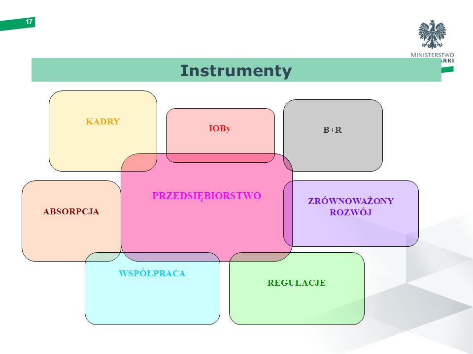 17 PRZEDSIĘBIORSTWO KADRY REGULACJE B+R ABSORPCJA IOBy WSPÓŁPRACA ZRÓWNOWAŻONY ROZWÓJ Instrumenty