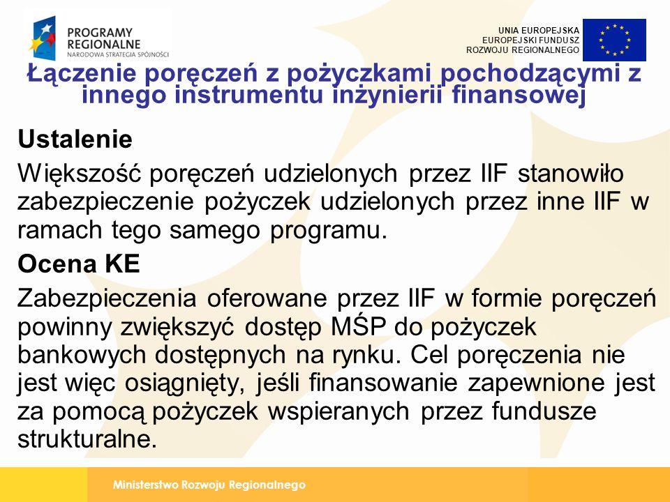 Ministerstwo Rozwoju Regionalnego UNIA EUROPEJSKA EUROPEJSKI FUNDUSZ ROZWOJU REGIONALNEGO Łączenie poręczeń z pożyczkami pochodzącymi z innego instrumentu inżynierii finansowej Ustalenie Większość poręczeń udzielonych przez IIF stanowiło zabezpieczenie pożyczek udzielonych przez inne IIF w ramach tego samego programu.