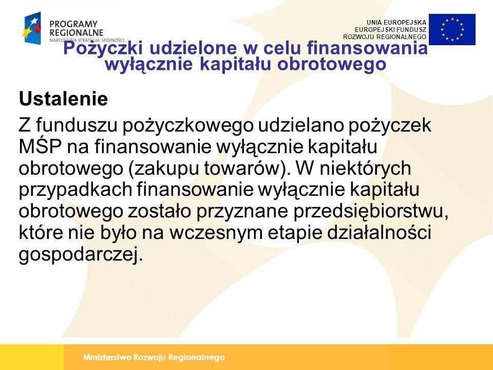 Ministerstwo Rozwoju Regionalnego UNIA EUROPEJSKA EUROPEJSKI FUNDUSZ ROZWOJU REGIONALNEGO Pożyczki udzielone w celu finansowania wyłącznie kapitału obrotowego Ustalenie Z funduszu pożyczkowego udzielano pożyczek MŚP na finansowanie wyłącznie kapitału obrotowego (zakupu towarów).