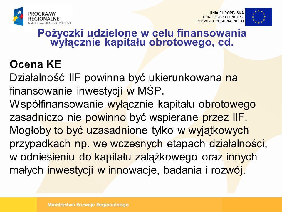 Ministerstwo Rozwoju Regionalnego UNIA EUROPEJSKA EUROPEJSKI FUNDUSZ ROZWOJU REGIONALNEGO Pożyczki udzielone w celu finansowania wyłącznie kapitału obrotowego, cd.