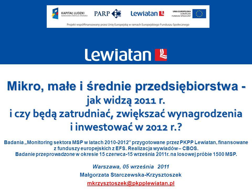 22 Źródło: Sektor MSP w Polsce, słabe i mocne strony, szanse i zagrożenia, w ramach projektu Monitoring kondycji sektora MSP w latach 2010-2012 współfinansowanego ze środków EFS w ramach PO KL, PKPP Lewiatan © 2011 PKPP Lewiatan 2011/2010 wzrost 2011/2010 spadek Prognozowane przez MSP ruchy na rynkach poszczególnych branż (zmiany udziałów w rynku) są mniejsze niż zmiany sprzedaży czy zysków.
