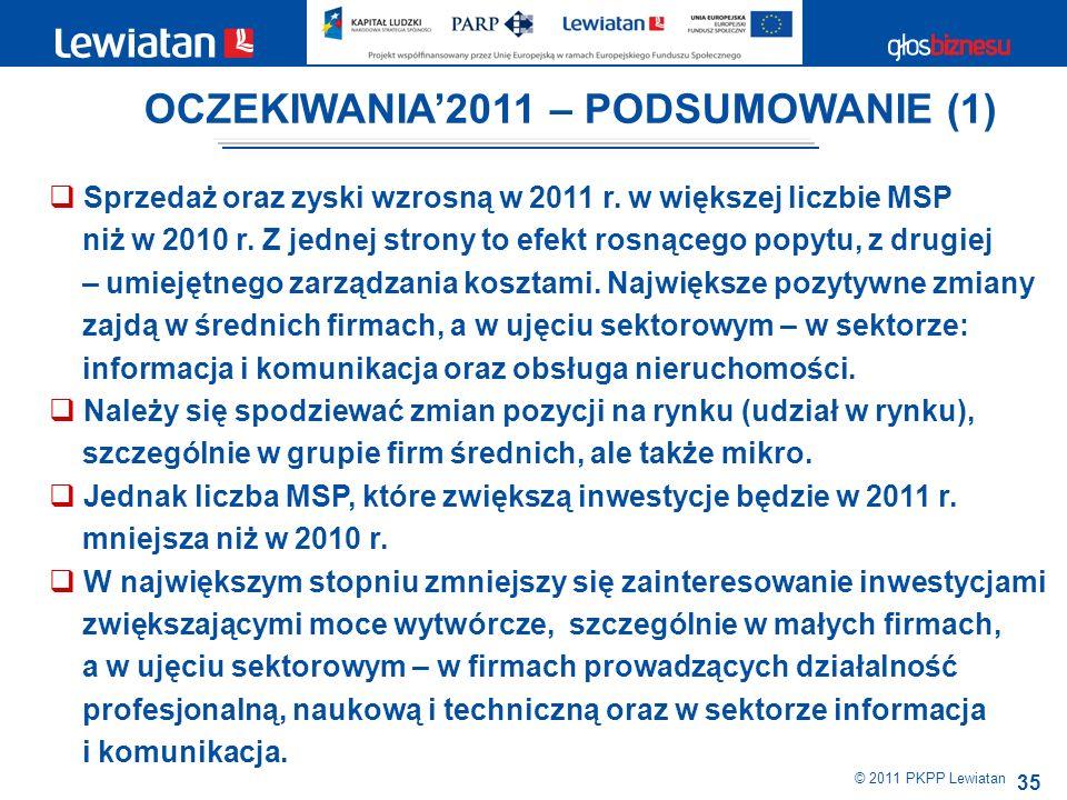 35 © 2011 PKPP Lewiatan Sprzedaż oraz zyski wzrosną w 2011 r.