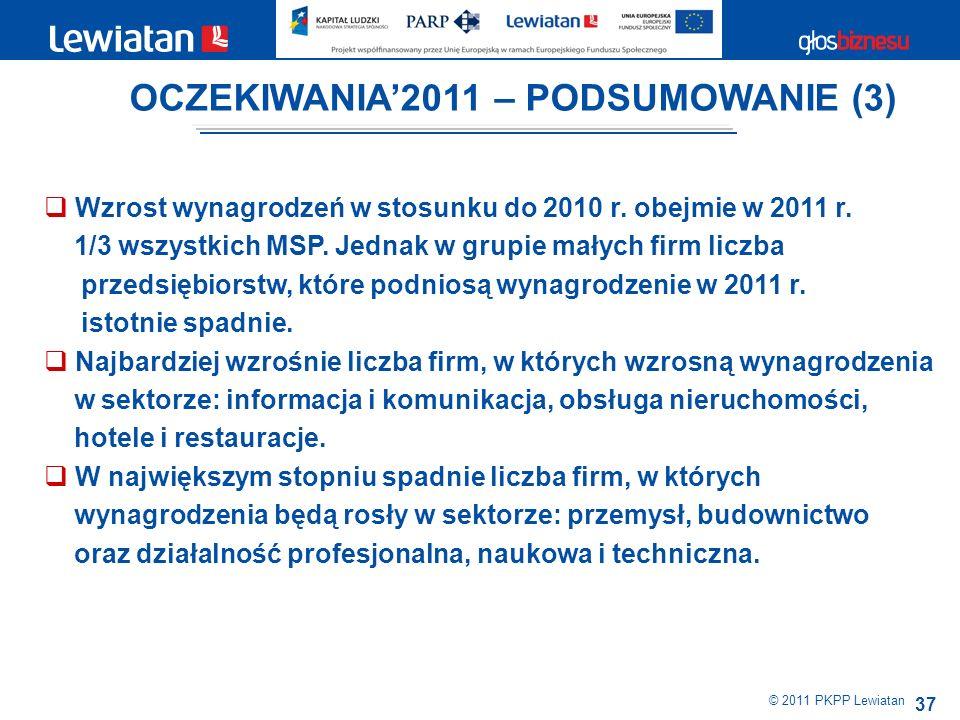 37 © 2011 PKPP Lewiatan Wzrost wynagrodzeń w stosunku do 2010 r.