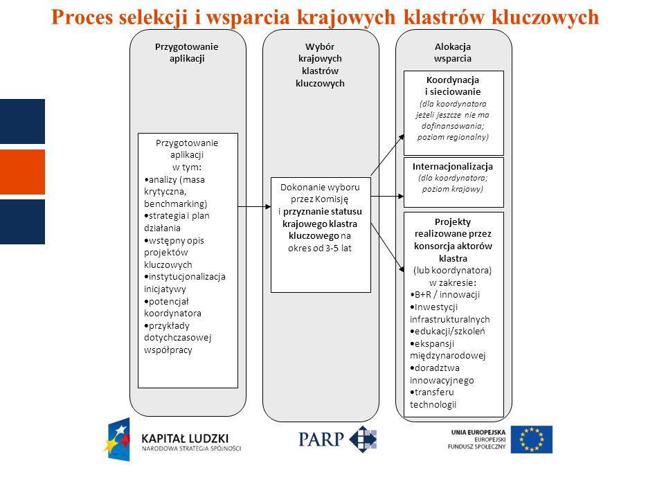 Proces selekcji i wsparcia krajowych klastrów kluczowych Przygotowanie aplikacji Wybór krajowych klastrów kluczowych Alokacja wsparcia Przygotowanie a