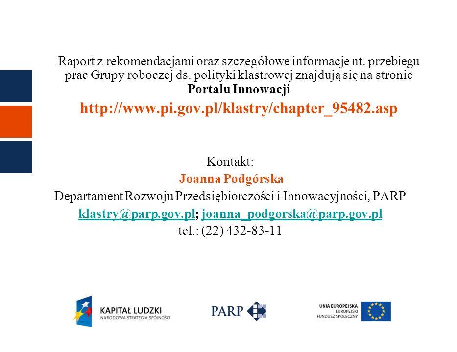 Raport z rekomendacjami oraz szczegółowe informacje nt. przebiegu prac Grupy roboczej ds. polityki klastrowej znajdują się na stronie Portalu Innowacj