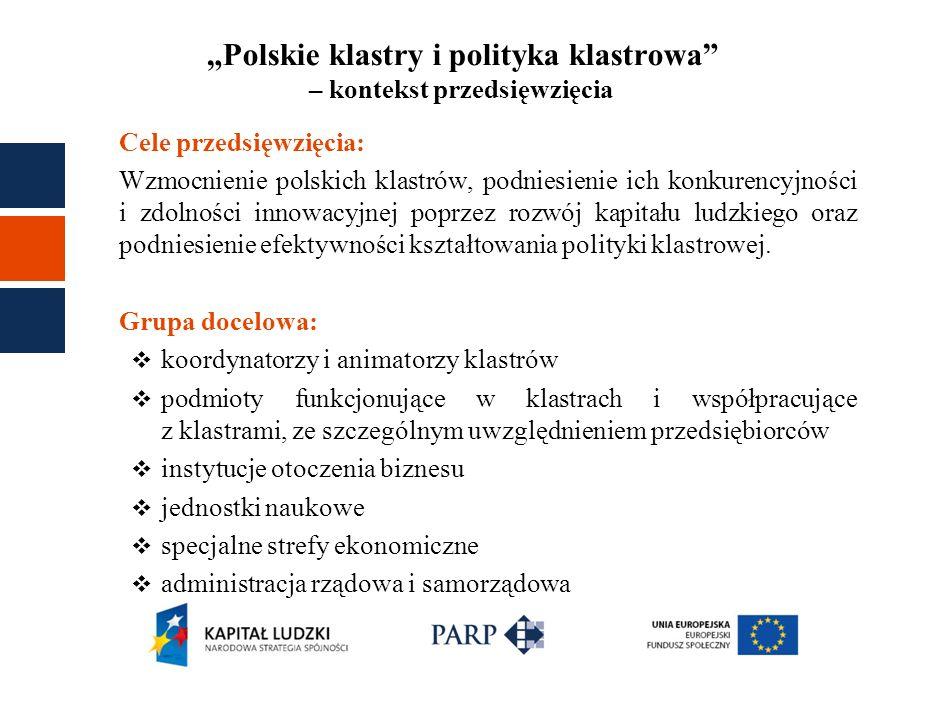 Polskie klastry i polityka klastrowa – kontekst przedsięwzięcia Cele przedsięwzięcia: Wzmocnienie polskich klastrów, podniesienie ich konkurencyjności