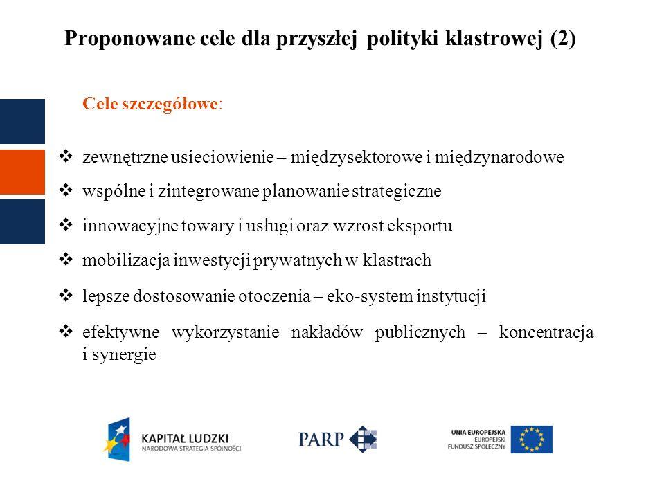 Proponowane cele dla przyszłej polityki klastrowej (2) Cele szczegółowe: zewnętrzne usieciowienie – międzysektorowe i międzynarodowe wspólne i zintegr