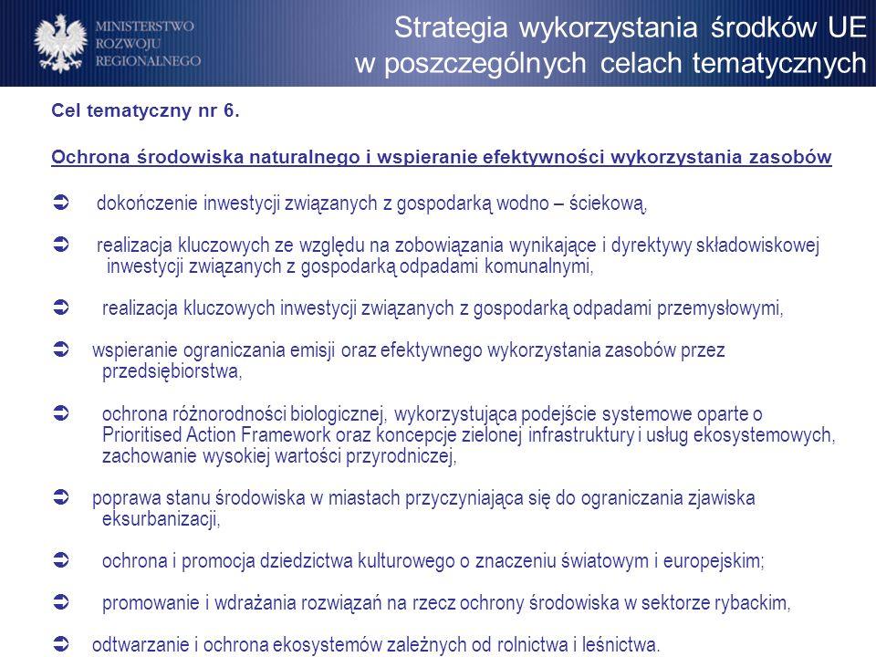 Cel tematyczny nr 6. Ochrona środowiska naturalnego i wspieranie efektywności wykorzystania zasobów dokończenie inwestycji związanych z gospodarką wod