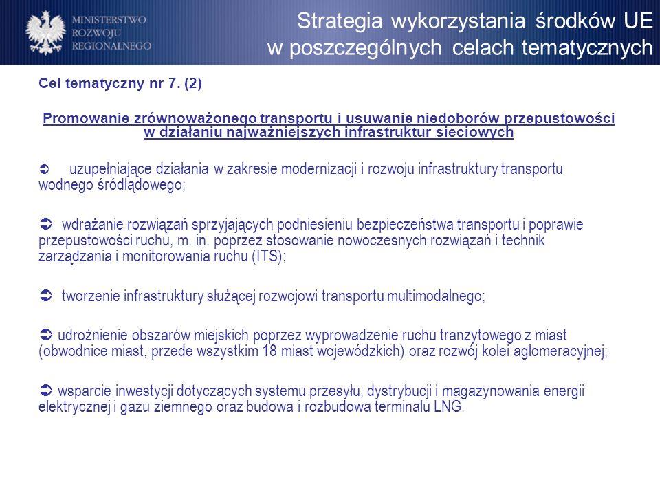 Cel tematyczny nr 7. (2) Promowanie zrównoważonego transportu i usuwanie niedoborów przepustowości w działaniu najważniejszych infrastruktur sieciowyc