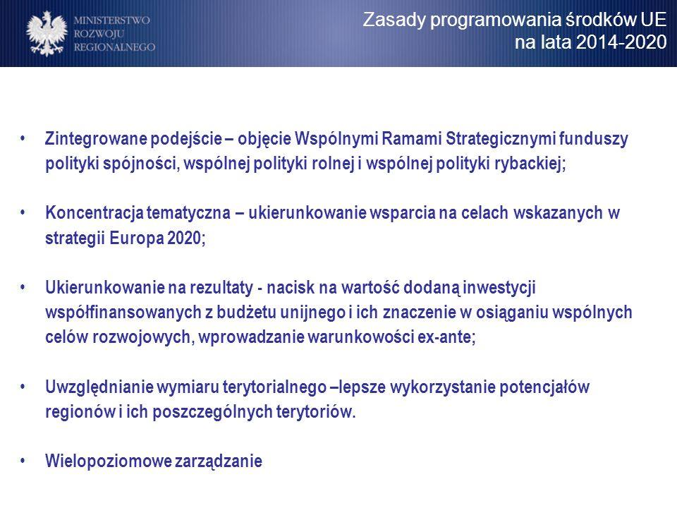 Zasady programowania środków UE na lata 2014-2020 Zintegrowane podejście – objęcie Wspólnymi Ramami Strategicznymi funduszy polityki spójności, wspóln