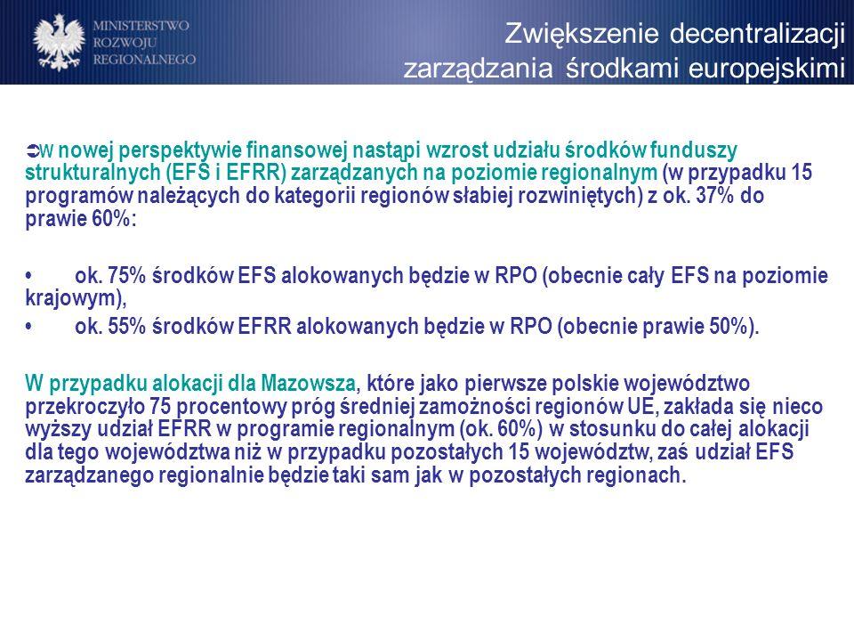 Zwiększenie decentralizacji zarządzania środkami europejskimi W nowej perspektywie finansowej nastąpi wzrost udziału środków funduszy strukturalnych (