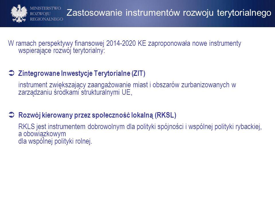 Zastosowanie instrumentów rozwoju terytorialnego W ramach perspektywy finansowej 2014-2020 KE zaproponowała nowe instrumenty wspierające rozwój teryto
