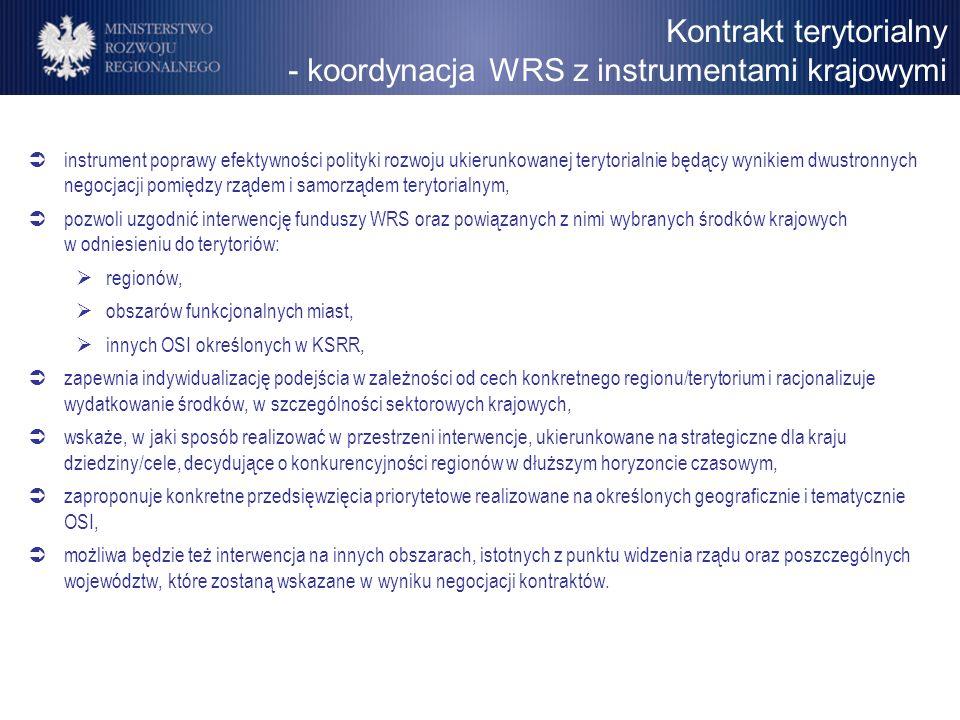 Kontrakt terytorialny - koordynacja WRS z instrumentami krajowymi instrument poprawy efektywności polityki rozwoju ukierunkowanej terytorialnie będący