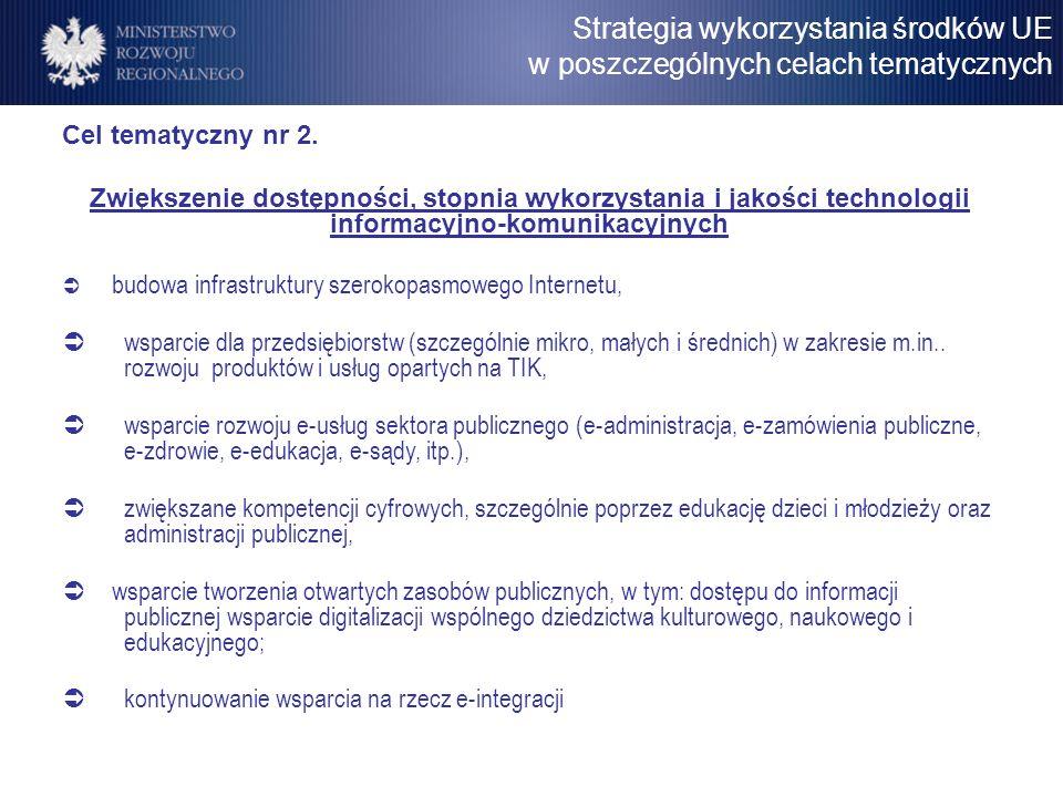 Cel tematyczny nr 2. Zwiększenie dostępności, stopnia wykorzystania i jakości technologii informacyjno-komunikacyjnych budowa infrastruktury szerokopa