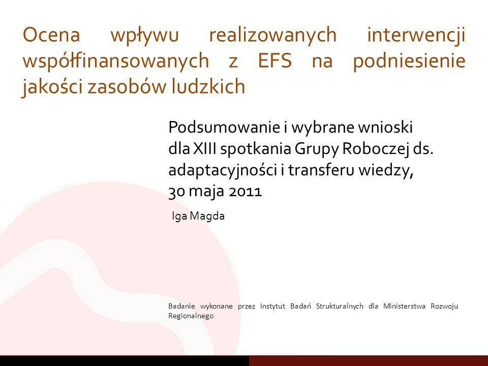 Plan prezentacji 2 1.Wprowadzenie 2.Wsparcie działalności gospodarczej 3.Kształcenie ustawiczne 4.Pozostałe narzędzia 5.Podsumowanie 1)Wprowadzenie - wydatkowanie środków EFS a podnoszenie kapitału ludzkiego 2) Efektywność wykorzystywanych narzędzi Wsparcie dla działalności gospodarczej Kształcenie ustawiczne (w tym szkolenia) Pozostałe 3) Podsumowanie
