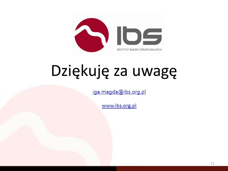 Dziękuję za uwagę 11 iga.magda@ibs.org.pl www.ibs.org.pl