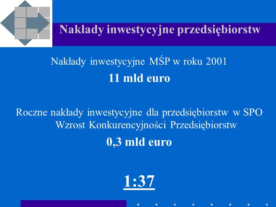 Nakłady inwestycyjne przedsiębiorstw Nakłady inwestycyjne MŚP w roku 2001 11 mld euro Roczne nakłady inwestycyjne dla przedsiębiorstw w SPO Wzrost Konkurencyjności Przedsiębiorstw 0,3 mld euro 1:37