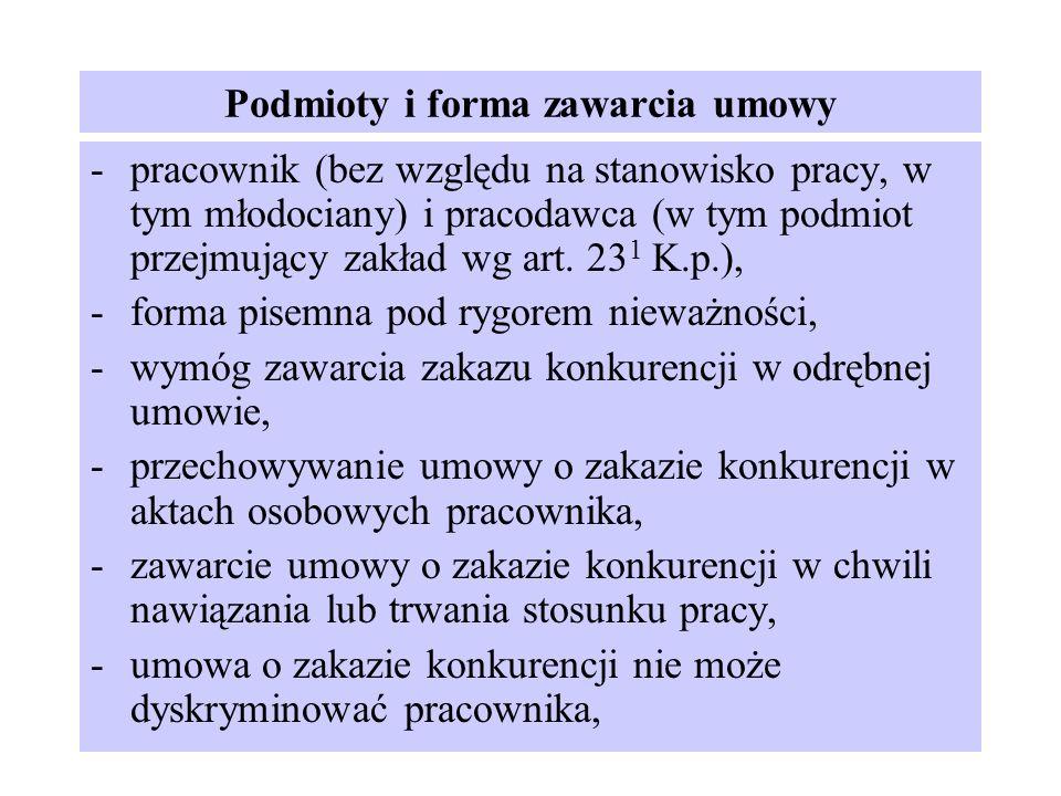 Podmioty i forma zawarcia umowy -pracownik (bez względu na stanowisko pracy, w tym młodociany) i pracodawca (w tym podmiot przejmujący zakład wg art.
