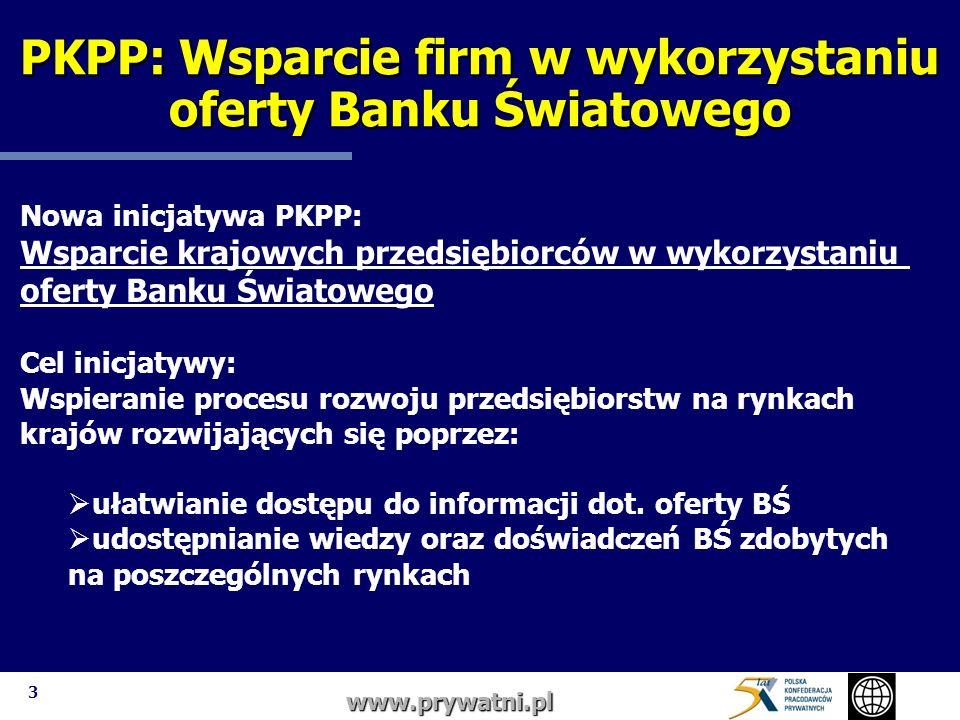 3 PKPP: Wsparcie firm w wykorzystaniu oferty Banku Światowego www.prywatni.pl Nowa inicjatywa PKPP: Wsparcie krajowych przedsiębiorców w wykorzystaniu oferty Banku Światowego Cel inicjatywy: Wspieranie procesu rozwoju przedsiębiorstw na rynkach krajów rozwijających się poprzez: ułatwianie dostępu do informacji dot.