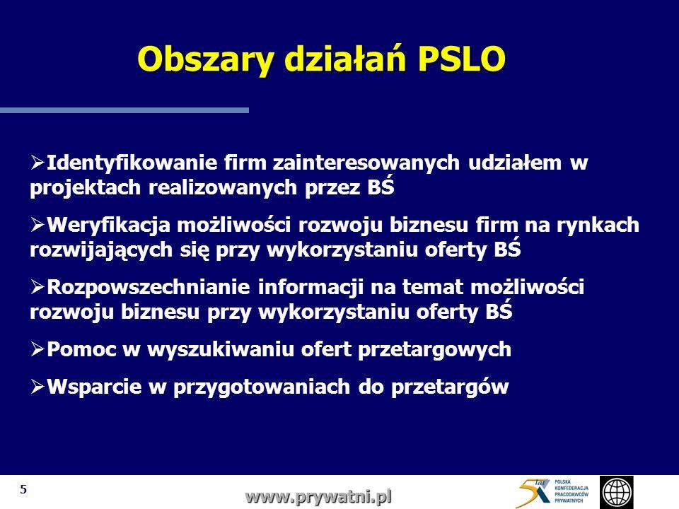 6 www.prywatni.pl Sposoby pracy : tworzenie bazy firm zainteresowanych uczestnictwem w projektach BŚ organizacja seminariów, szkoleń bezpośrednie kontakty z firmami zainteresowanymi udziałem w przetargach stworzenie systemu informowania o projektach współpraca z innymi organizacjami zainteresowanymi wspieraniem polskiej przedsiębiorczości na rynkach rozwijających się Zakres pracy PSLO Zakres pracy PSLO