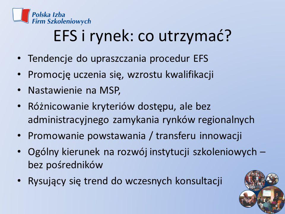 EFS i rynek: co utrzymać? Tendencje do upraszczania procedur EFS Promocję uczenia się, wzrostu kwalifikacji Nastawienie na MSP, Różnicowanie kryteriów