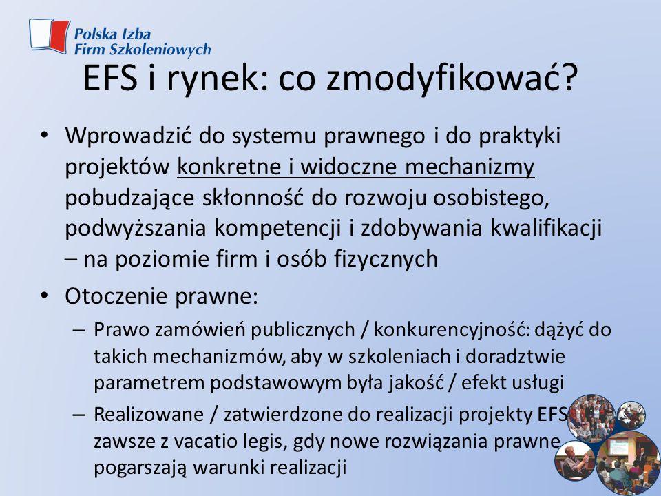 EFS i rynek: co zmodyfikować? Wprowadzić do systemu prawnego i do praktyki projektów konkretne i widoczne mechanizmy pobudzające skłonność do rozwoju