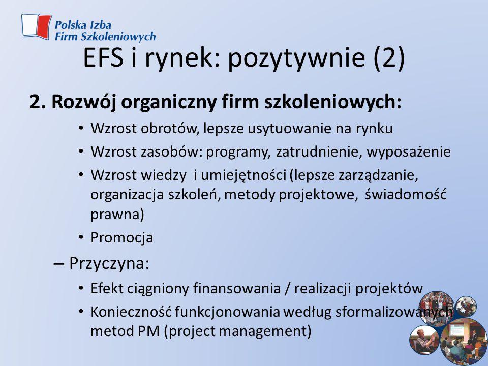 EFS i rynek: pozytywnie (2) 2. Rozwój organiczny firm szkoleniowych: Wzrost obrotów, lepsze usytuowanie na rynku Wzrost zasobów: programy, zatrudnieni