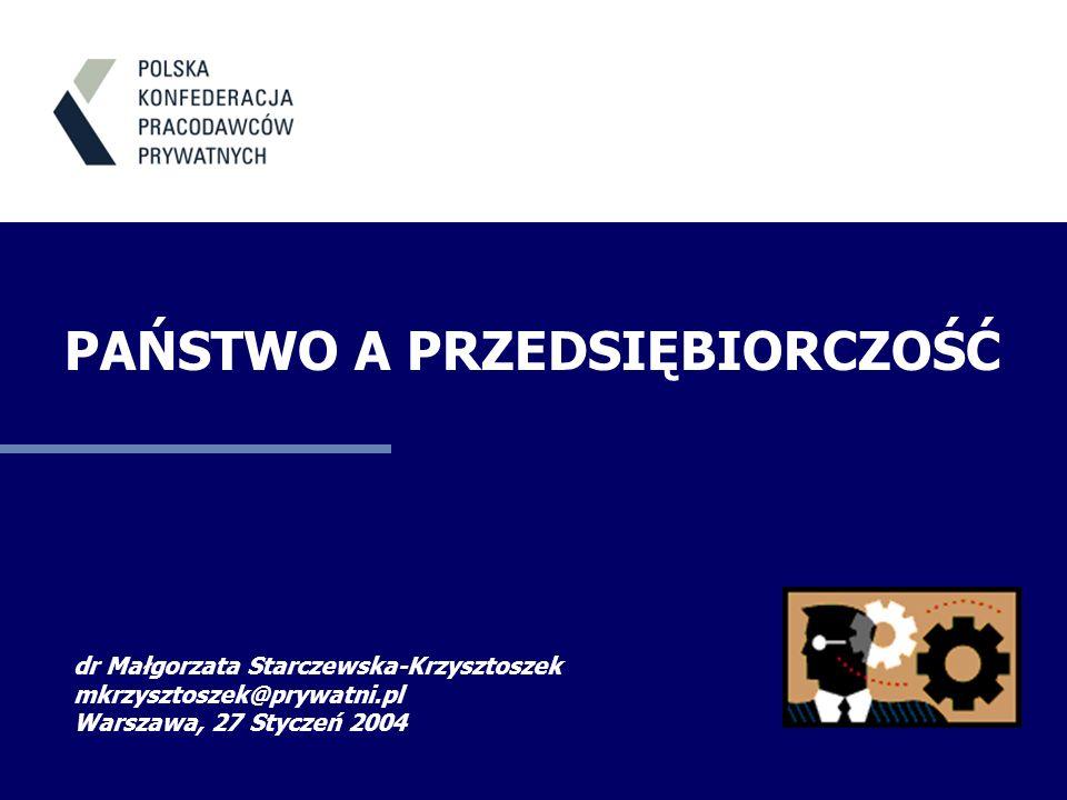 dr Małgorzata Starczewska-Krzysztoszek mkrzysztoszek@prywatni.pl Warszawa, 27 Styczeń 2004 PAŃSTWO A PRZEDSIĘBIORCZOŚĆ