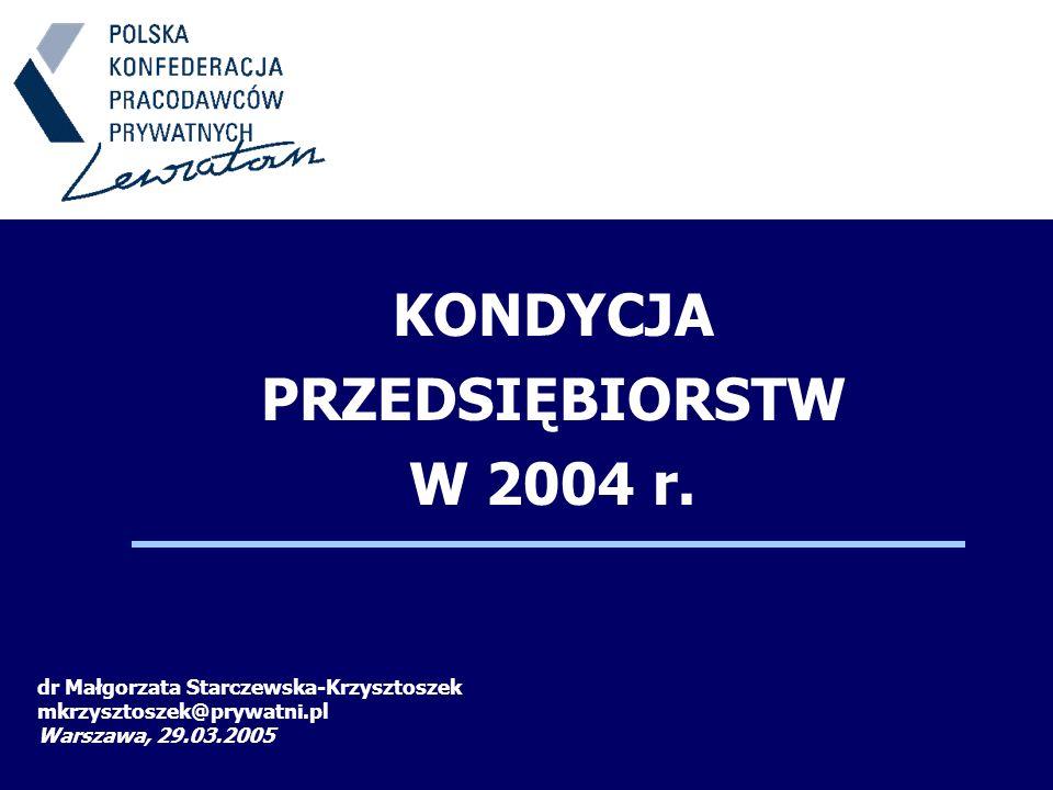 KONDYCJA PRZEDSIĘBIORSTW W 2004 r. dr Małgorzata Starczewska-Krzysztoszek mkrzysztoszek@prywatni.pl Warszawa, 29.03.2005