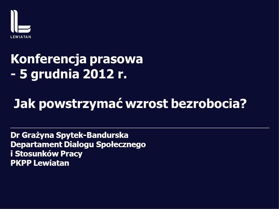 Konferencja prasowa - 5 grudnia 2012 r. Jak powstrzymać wzrost bezrobocia.