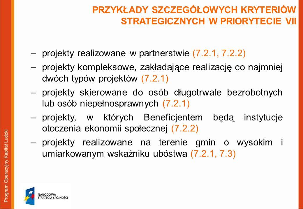 PRZYKŁADY SZCZEGÓŁOWYCH KRYTERIÓW STRATEGICZNYCH W PRIORYTECIE VII –projekty realizowane w partnerstwie (7.2.1, 7.2.2) –projekty kompleksowe, zakładaj