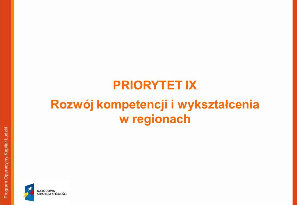 PRIORYTET IX Rozwój kompetencji i wykształcenia w regionach