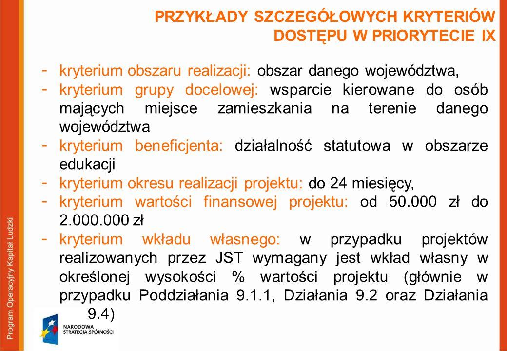 PRZYKŁADY SZCZEGÓŁOWYCH KRYTERIÓW DOSTĘPU W PRIORYTECIE IX  kryterium obszaru realizacji: obszar danego województwa,  kryterium grupy docelowej: wsp