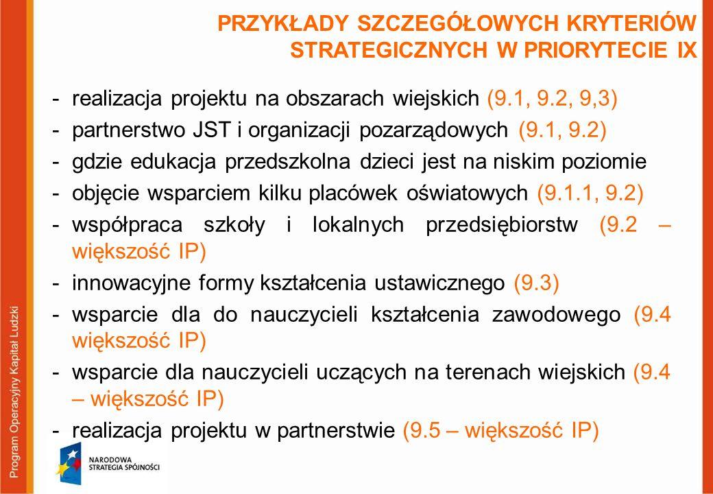 PRZYKŁADY SZCZEGÓŁOWYCH KRYTERIÓW STRATEGICZNYCH W PRIORYTECIE IX -realizacja projektu na obszarach wiejskich (9.1, 9.2, 9,3) -partnerstwo JST i organ